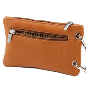 Rear Zipper Pocket View Of The Cognac Cellphone Holder and Mini Crossbody Bag