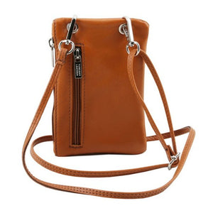 Shoulder Strap Attachment View Of The Cognac Cellphone Holder and Mini Crossbody Bag