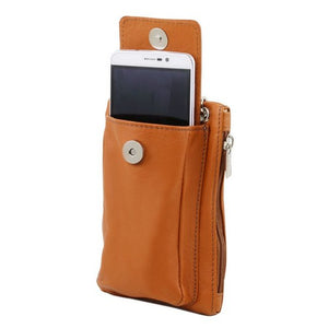 Front Pocket View Of The Cognac Cellphone Holder and Mini Crossbody Bag