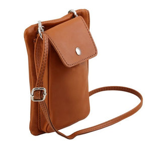 Shoulder Strap View Of The Cognac Cellphone Holder and Mini Crossbody Bag