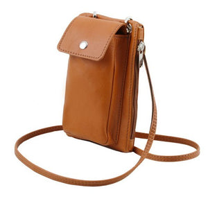 Angled View Of The Cognac Cellphone Holder and Mini Crossbody Bag