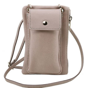 Front View Of The Light Grey Cellphone Holder and Mini Crossbody Bag