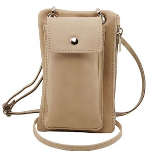 Front View Of The Light Taupe Cellphone Holder and Mini Crossbody Bag