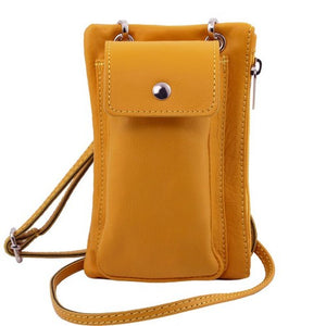 Front View Of The Yellow Cellphone Holder and Mini Crossbody Bag
