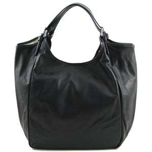 Front View Of The Black Gina Large Leather Hobo Bag
