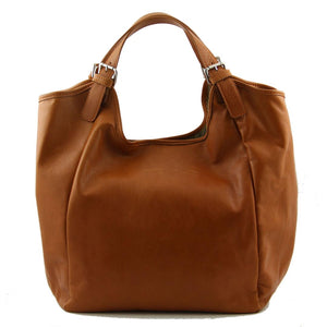 Rear View Of The Cognac Gina Large Leather Hobo Bag