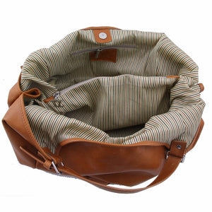Internal View Of The Cognac Gina Large Leather Hobo Bag