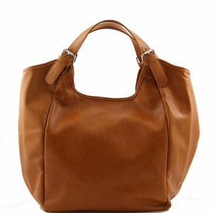Front View Of The Cognac Gina Large Leather Hobo Bag