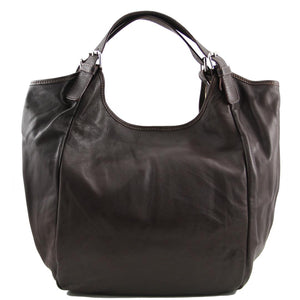 Front View Of The Dark Brown Gina Large Leather Hobo Bag
