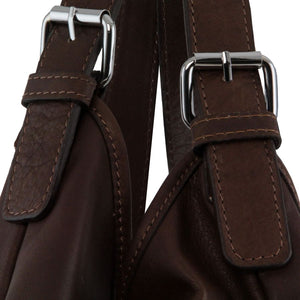 Leather Handles View Of The Dark Brown Gina Large Leather Hobo Bag