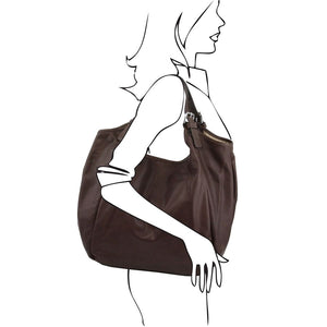 Women Posing With The Dark Brown Gina Large Leather Hobo Bag