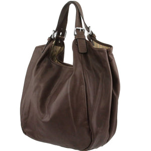 Angled View Of The Dark Brown Gina Large Leather Hobo Bag