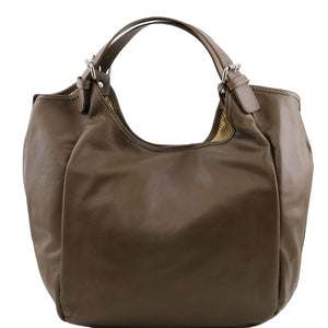 Front View Of The Dark Taupe Gina Large Leather Hobo Bag