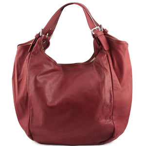Front View Of The Red Gina Large Leather Hobo Bag