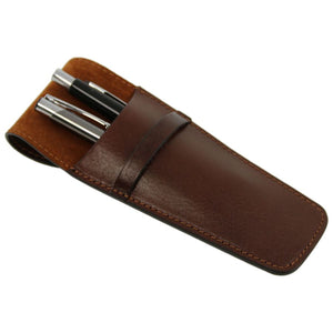 Angled And Feature View Of The Brown Leather Pen Pouch