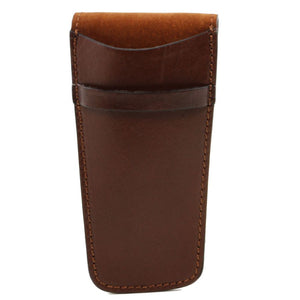 Opening Flap View Of The Brown Leather Pen Pouch