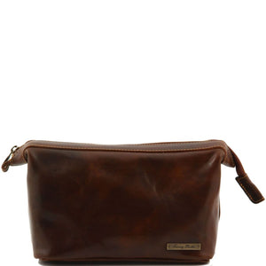 Front View Of The Brown Leather Wash Bag
