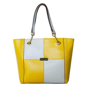 Front View Of The Yellow And Cream Blocked Kylie Leather Handbag-On Sale