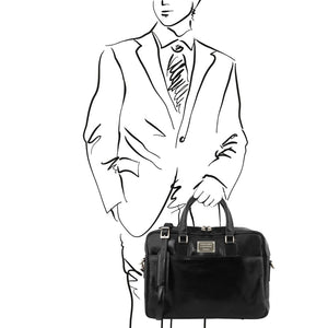Man Posing With The Black Luxury Leather Laptop Bag