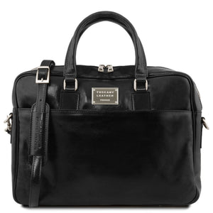 Front View Of The Black Luxury Leather Laptop Bag