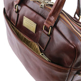 Front Pocket View Of The Brown Luxury Leather Laptop Bag