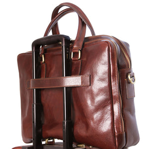 Rear And Side Angled View Of The Brown Luxury Leather Laptop Bag