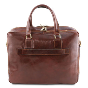 Rear View Of The Brown Luxury Leather Laptop Bag