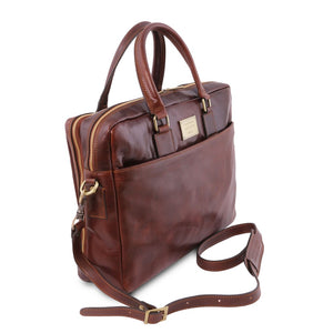 Angled And Shoulder Strap View Of The Brown Luxury Leather Laptop Bag