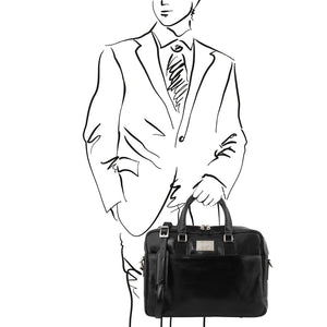 Man Posing With The Black Leather Business Laptop Bag