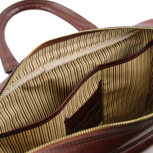 Internal Compartment View Of The Brown Leather Business Laptop Bag
