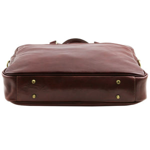 Underneath View Of The Brown Leather Business Laptop Bag