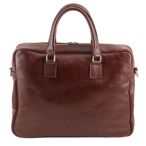 Rear View Of The Brown Leather Business Laptop Bag