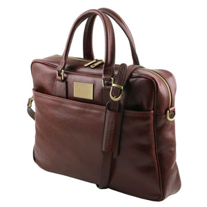 Angled And Shoulder Strap View Of The Brown Leather Business Laptop Bag