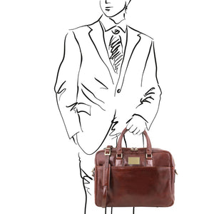 Man Posing With The Brown Leather Business Laptop Bag