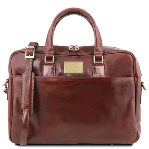 Front View Of The Brown Leather Business Laptop Bag