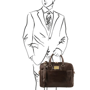 Man Posing With The Dark Brown Leather Business Laptop Bag
