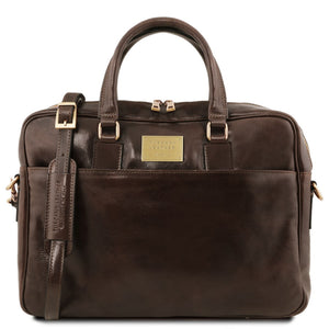 Front View Of The Dark Brown Leather Business Laptop Bag