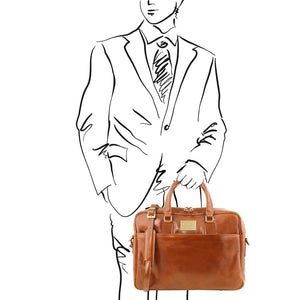 Man Posing With The Honey Leather Business Laptop Bag