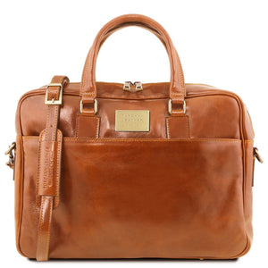 Front View Of The Honey Leather Business Laptop Bag