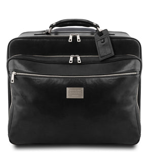 Front View Of The Black Leather Pilot Case With Wheels