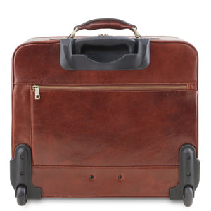 Rear View Of The Brown Leather Pilot Case With Wheels