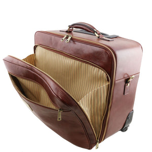 Front Zipper Compartment View Of The Brown Leather Pilot Case With Wheels