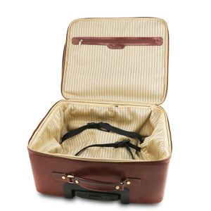 Varsavia Leather Pilot Case With Wheels