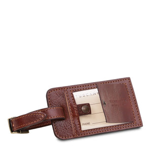 Luggage Tag View Of The Brown Leather Pilot Case With Wheels