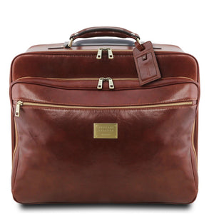Front View Of The Brown Leather Pilot Case With Wheels