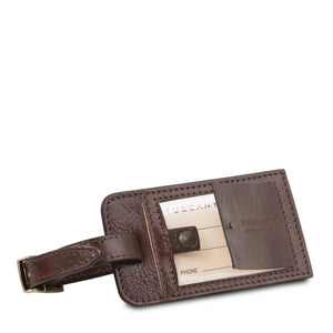 Luggage Tag View Of The Dark Brown Leather Pilot Case With Wheels