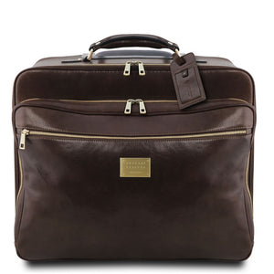 Front View Of The Dark Brown Leather Pilot Case With Wheels