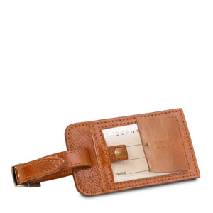 Luggage Tag View Of The Honey Leather Pilot Case With Wheels