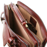 Compartments View Of The Brown Professional Leather Bag