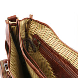 Additonal Close Up Of The Internal Zip Pocket Of The Brown Italian Leather Briefcase